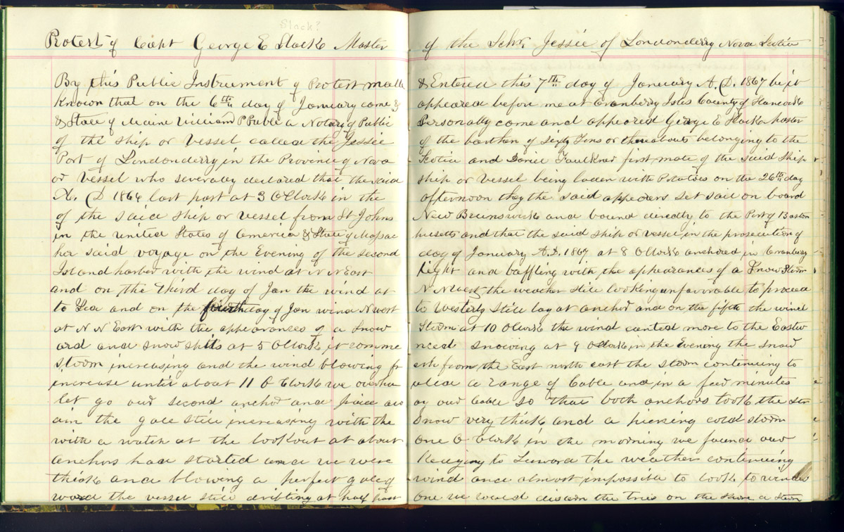 Journal with transcriptions of protestations of ships