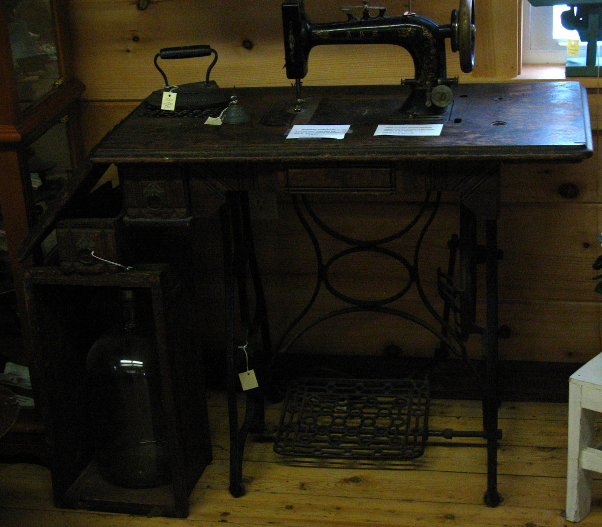 Antique sewing machine from the Moorfield Storey house