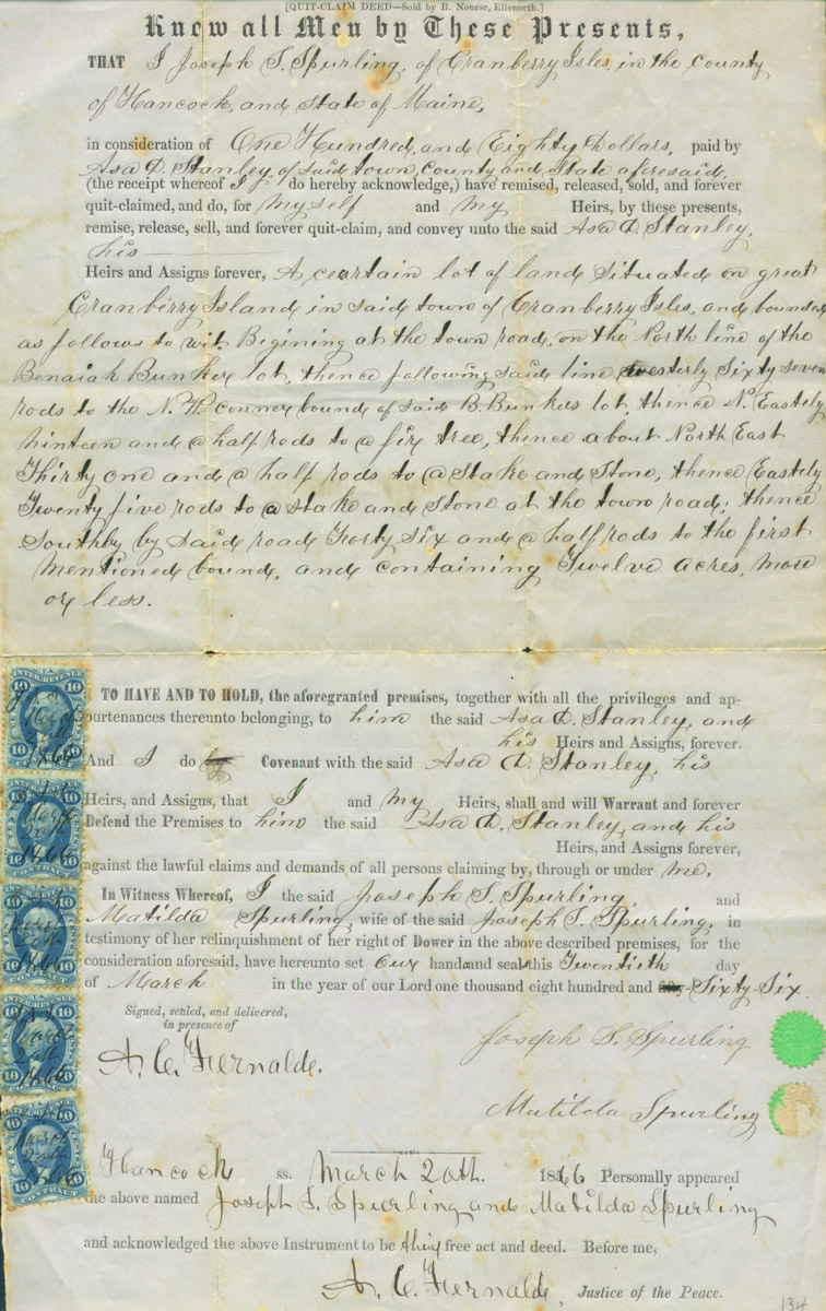 Deed, Joseph S. Spurling to Asa D. Stanley