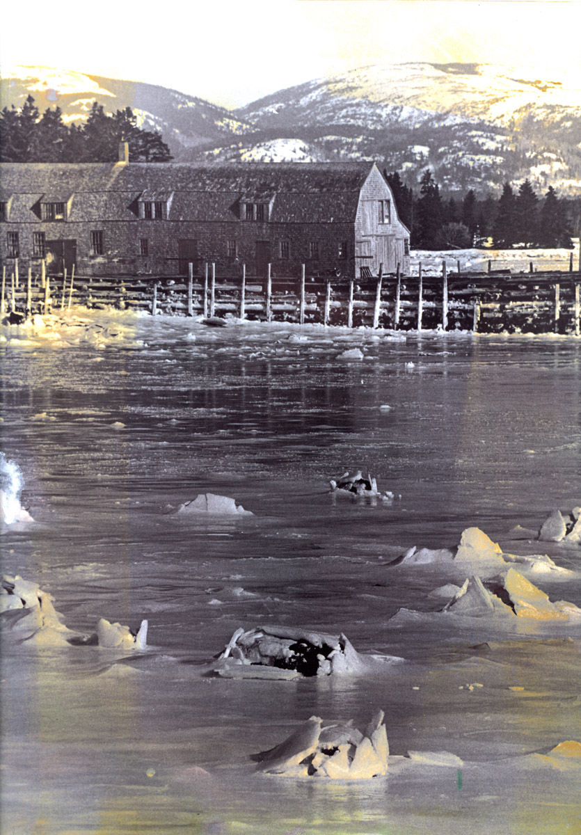Negative and print of Lewis Stanley boatyard in winter
