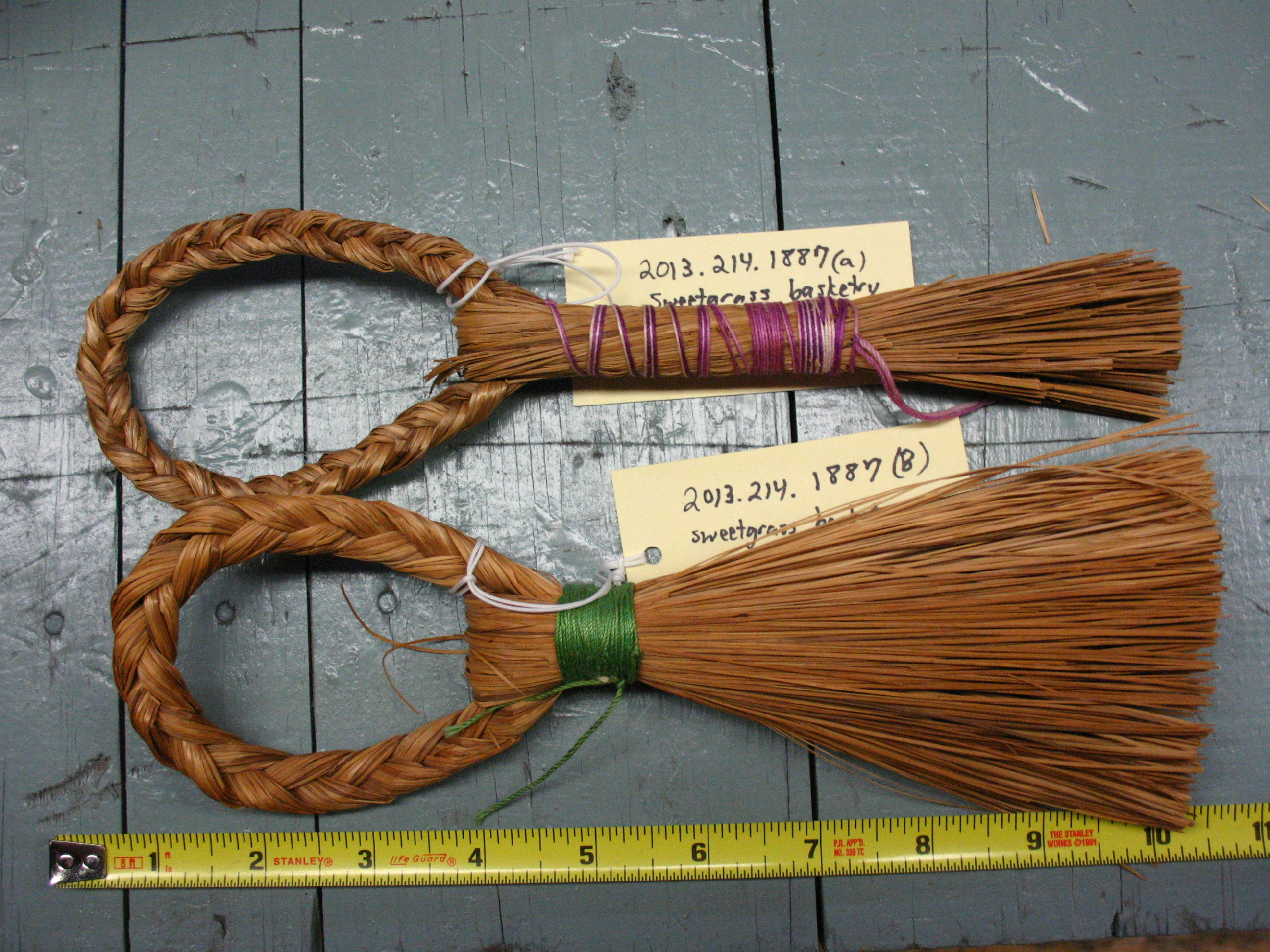 Native American sweetgrass whisk brooms