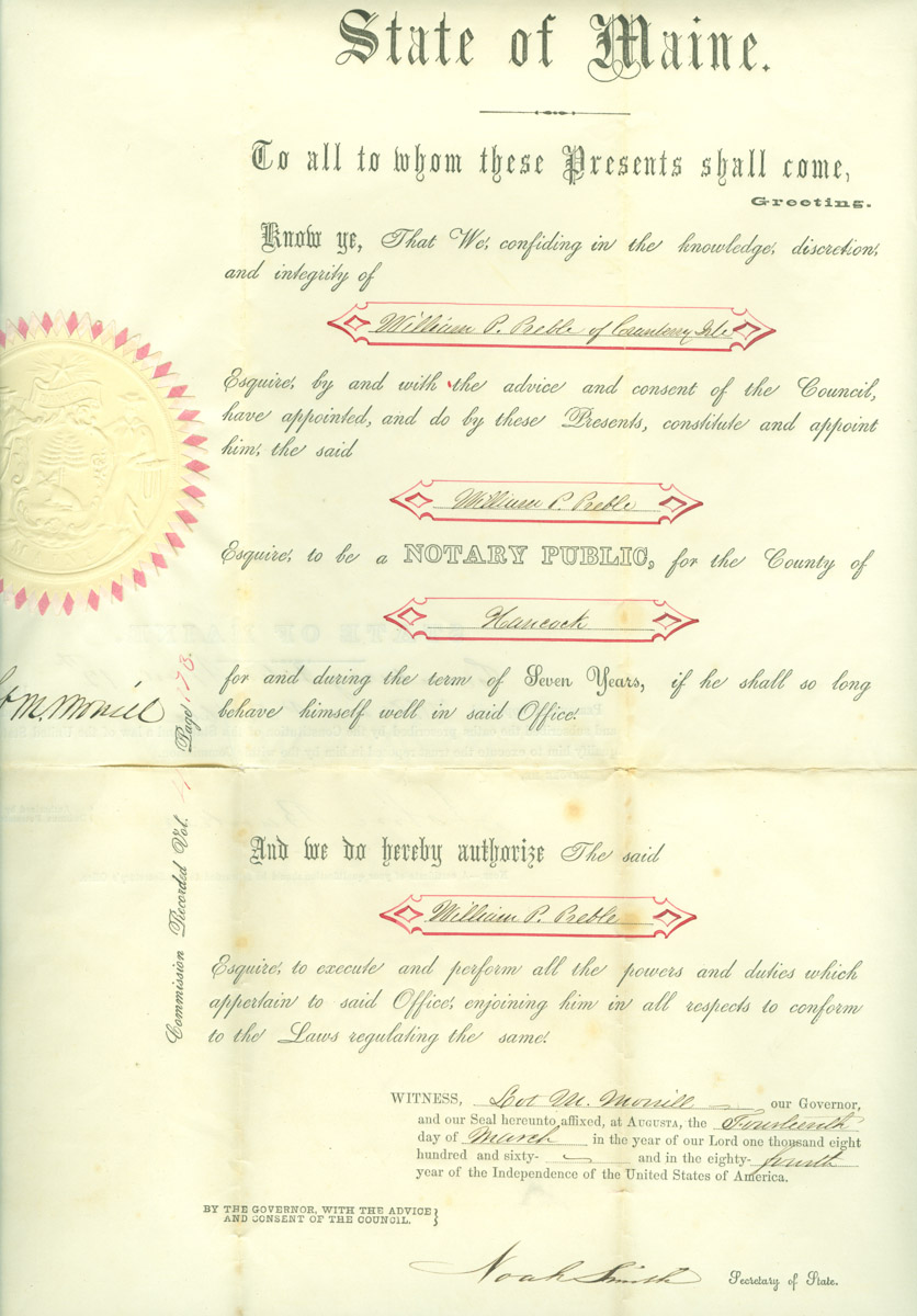 Certificate for William Preble as Notary Public