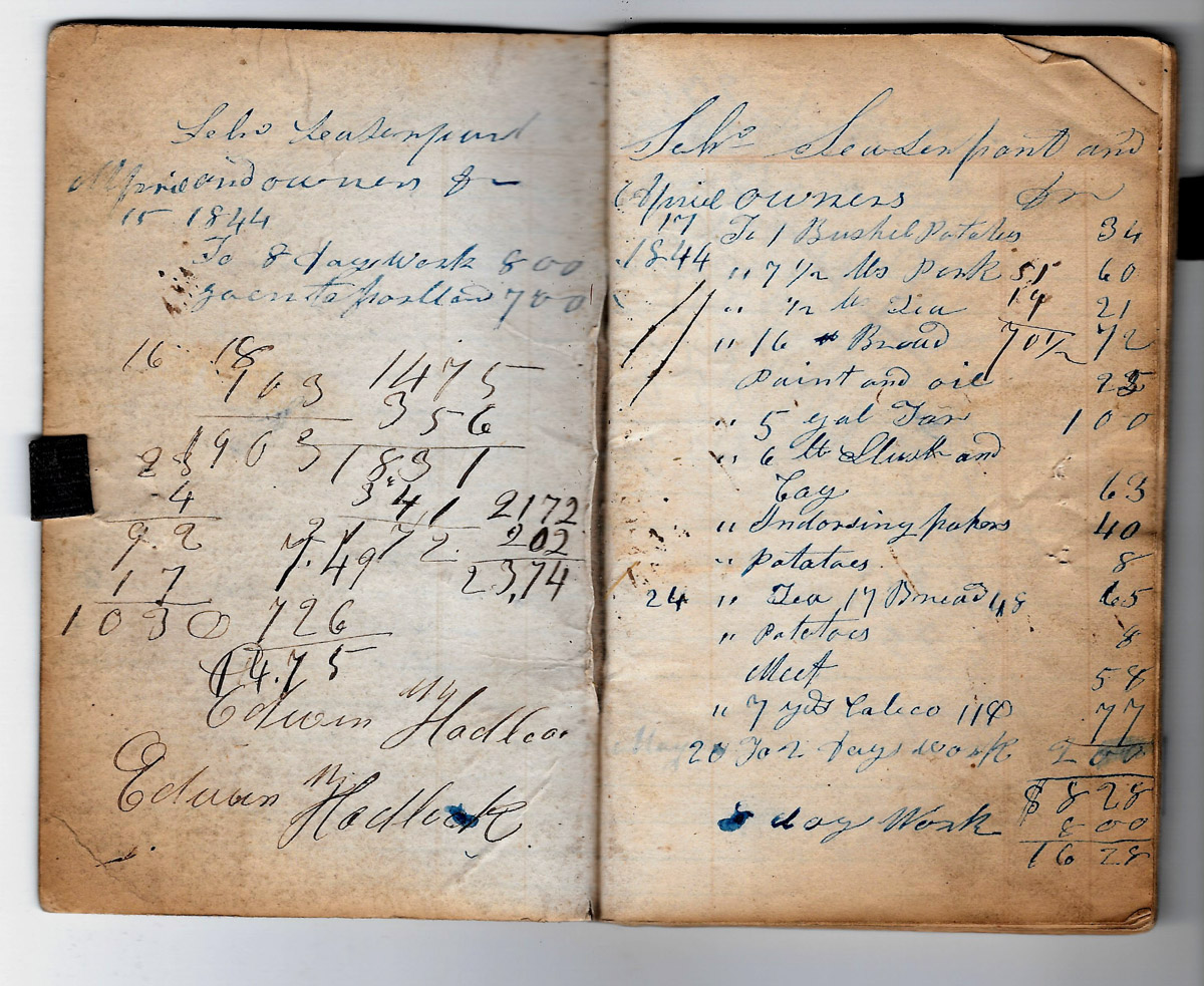 Ledger of A. C. Fernald for provisions of schooners 1844-1850