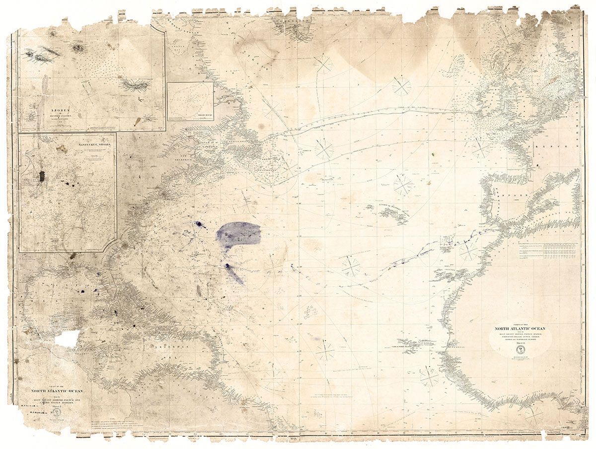 Nautical charts (1855-1877) used by Meltiah and Carrie Richardson for transatlantic voyages