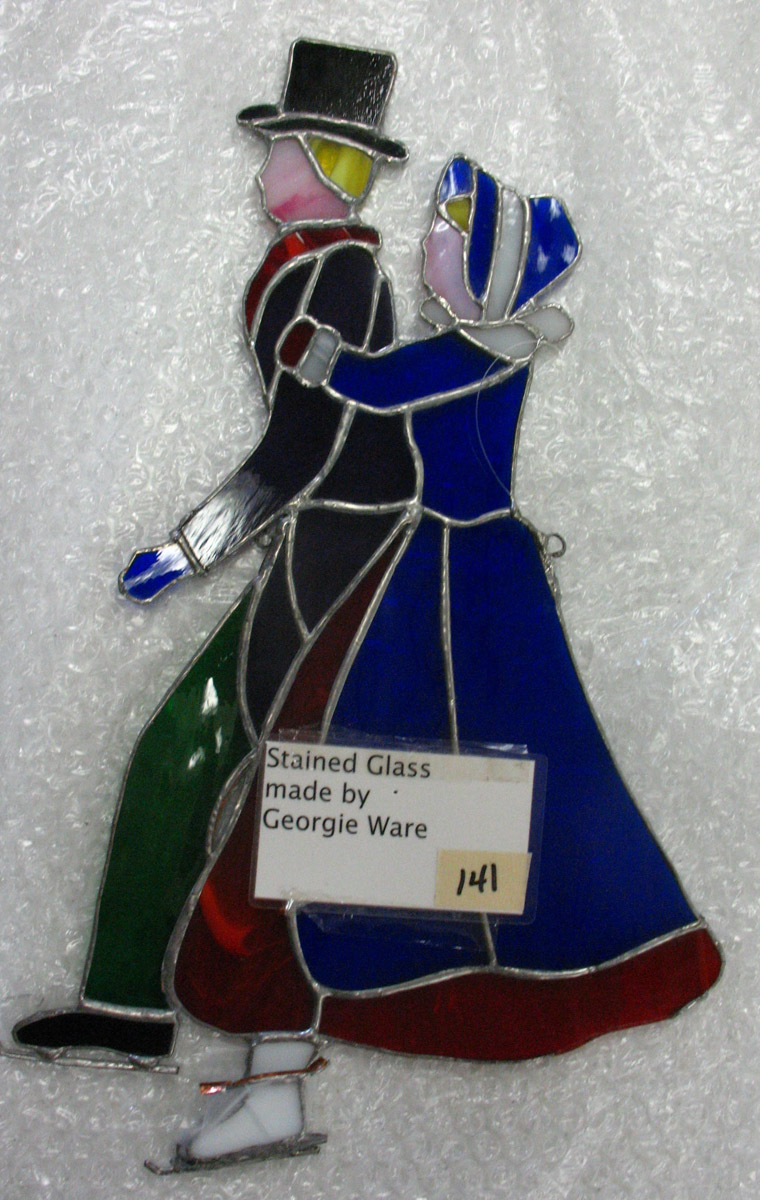One stained-glass pair of ice skaters