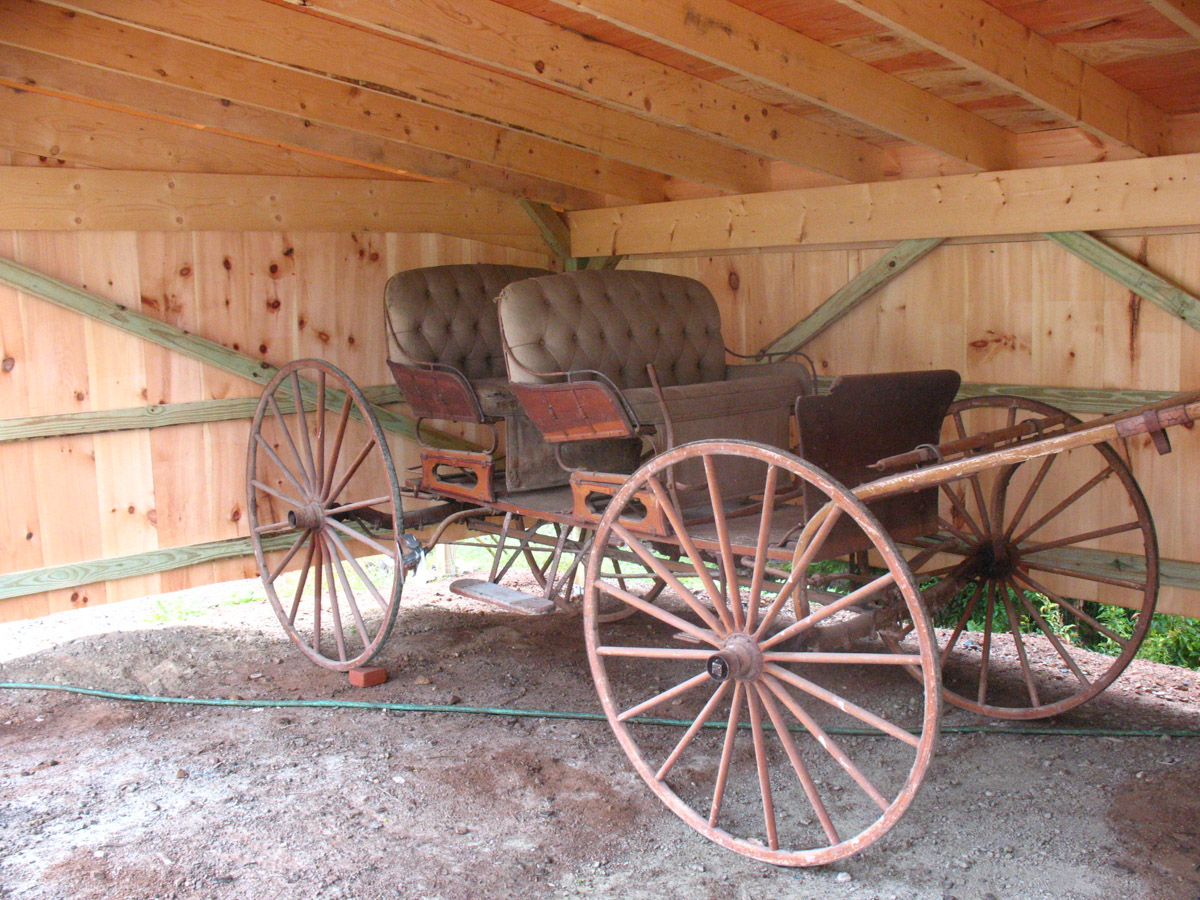 Buckboard: wooden wheels with iron cladding made in Bar Harbor