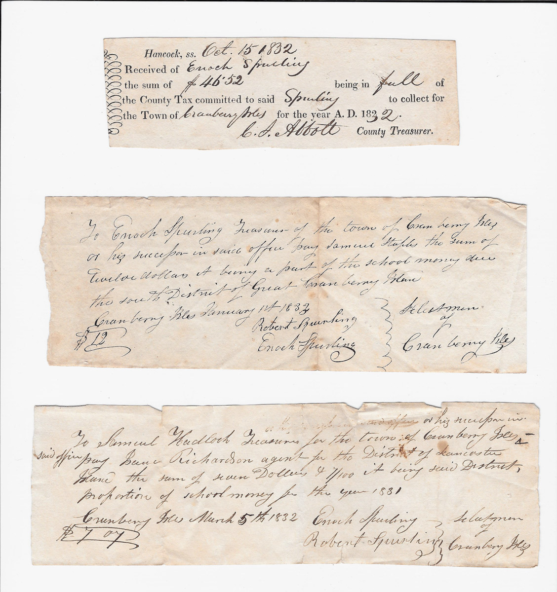 Town of Cranberry Isles records - 1832