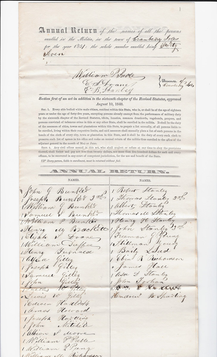 Town of Cranberry Isles records - 1851