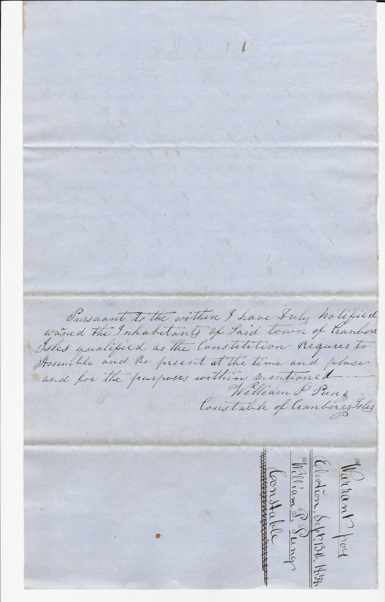 Town of Cranberry Isles records - 1858