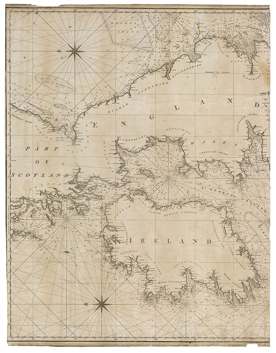 Nautical Chart of Ireland with annotations