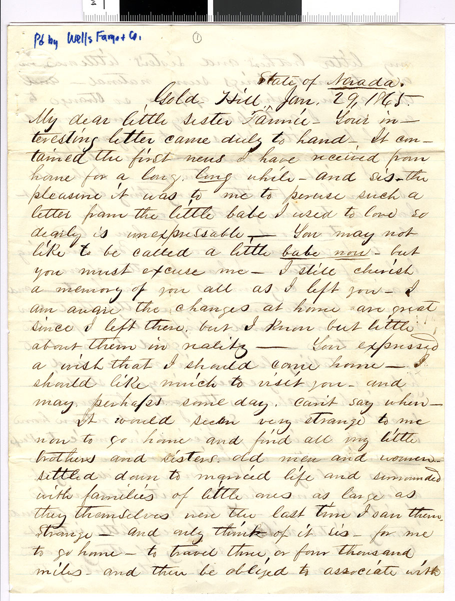 Letter 1 of 6 from Samuel Spurling to Fannie Preble