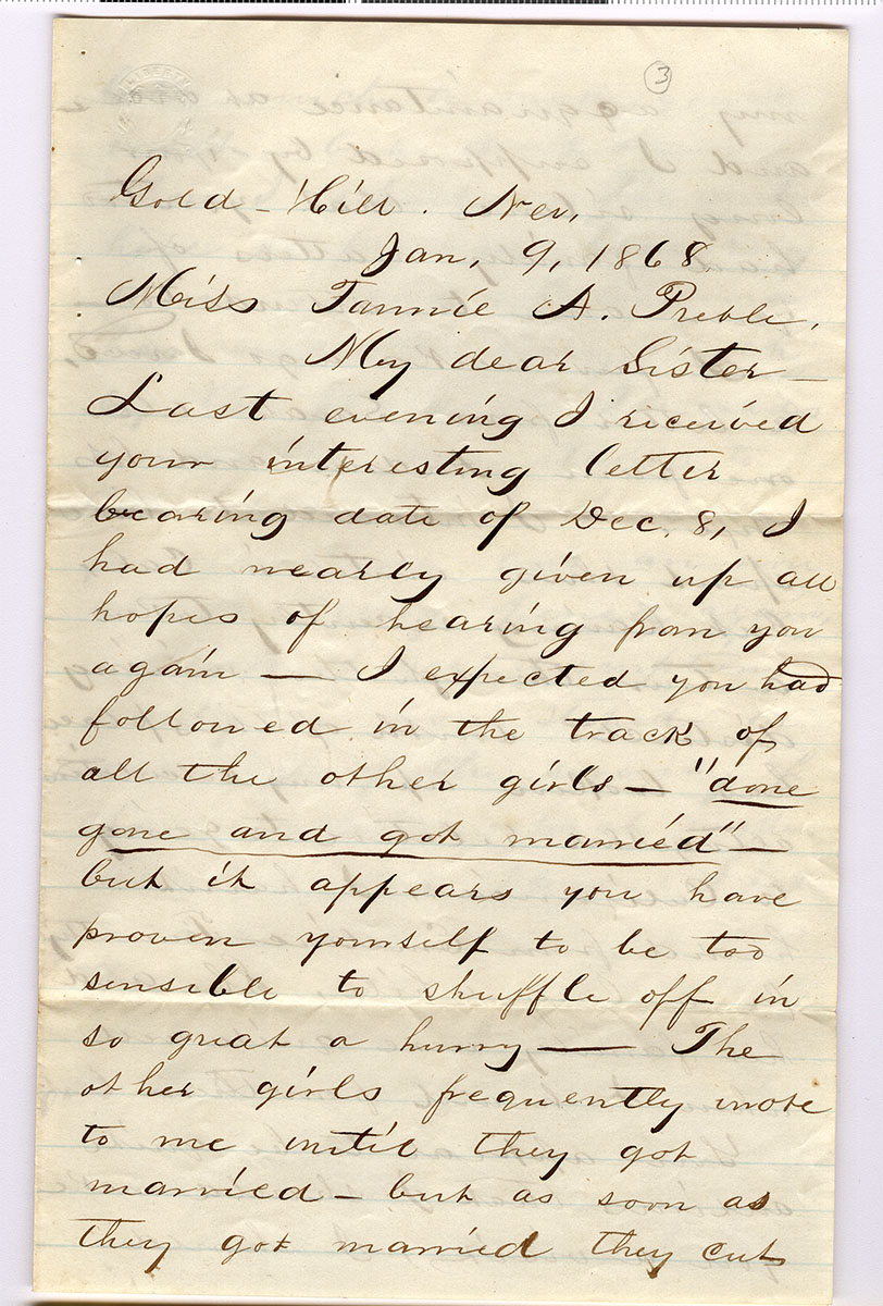 Letter 3 of 6 from Samuel Spurling to Fannie Preble