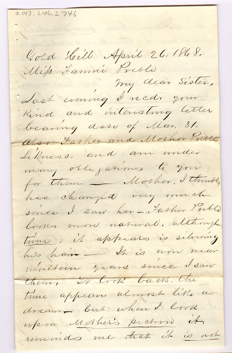 Letter 4 of 6 from Samuel Spurling to Fannie Preble
