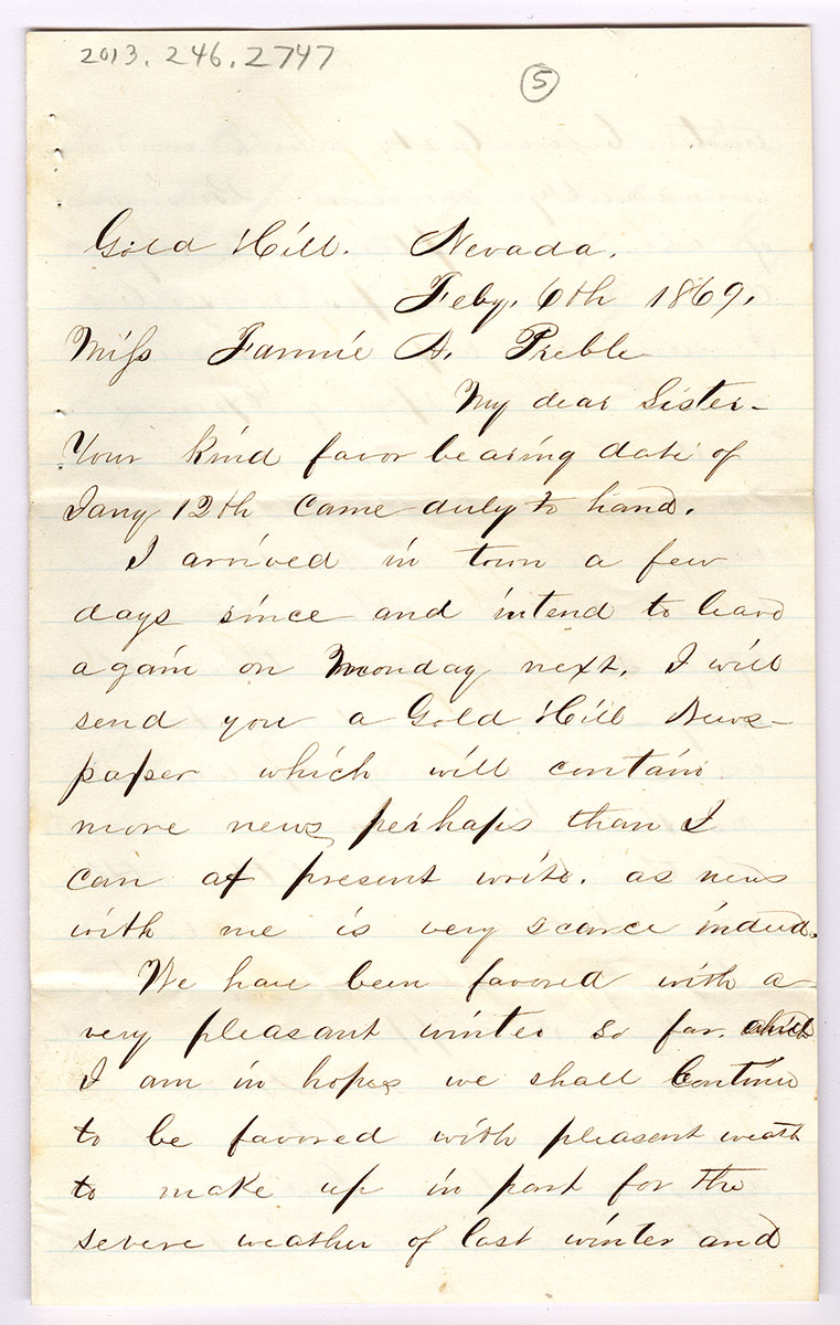 Letter 5 of 6 from Samuel Spurling to Fannie Preble