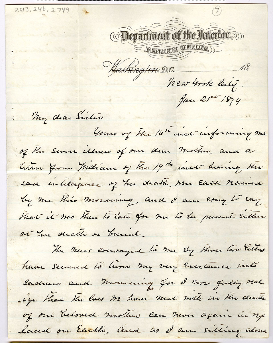 Letter 7 of group of letters to Frances (Fannie) S. Spurling