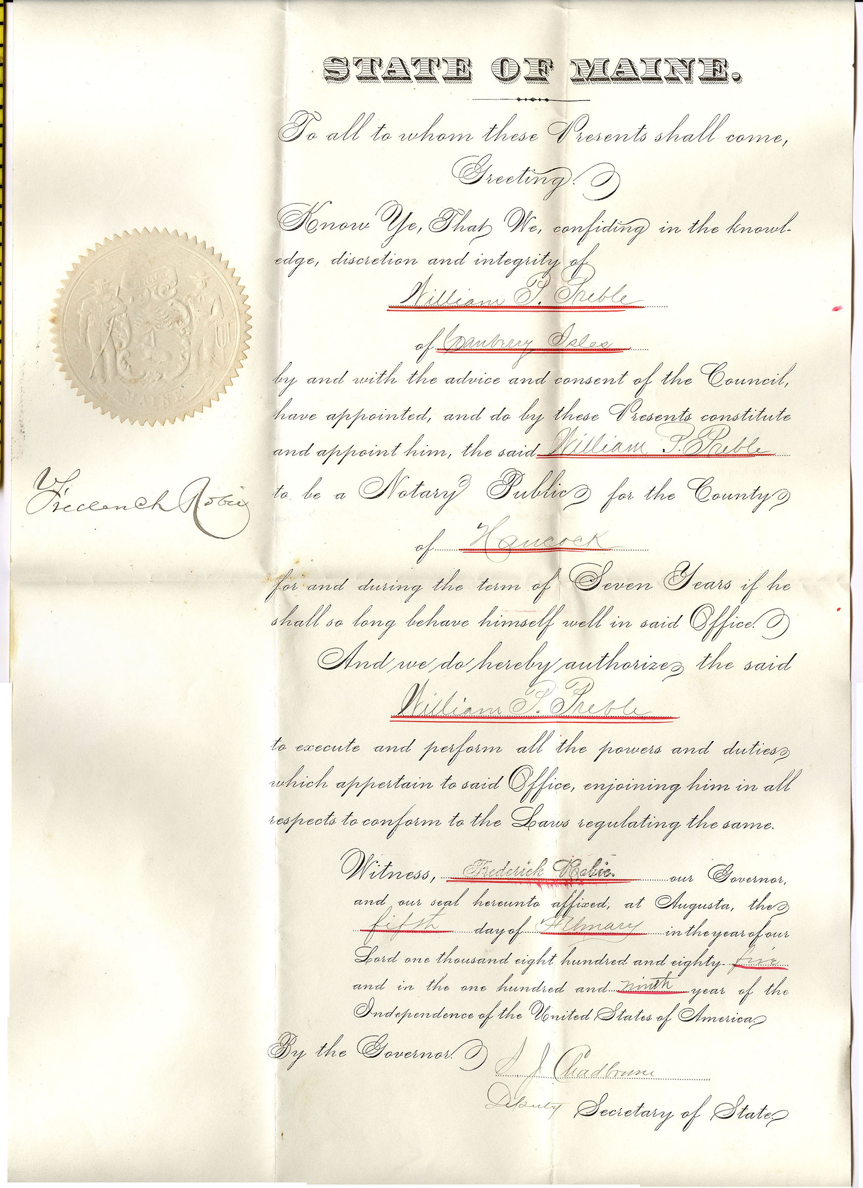 William P. Preble appointed Notary Public