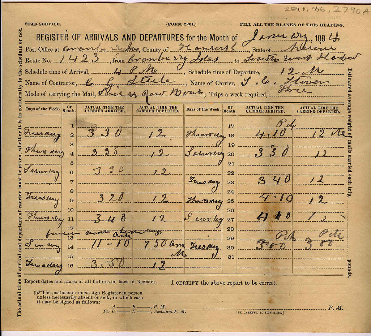 Register of Arrivals and Departures - Post Office 1884