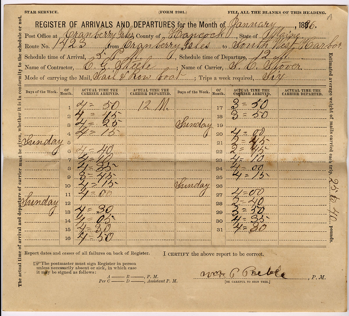 Register of Arrivals and Departures - Post Office 1896