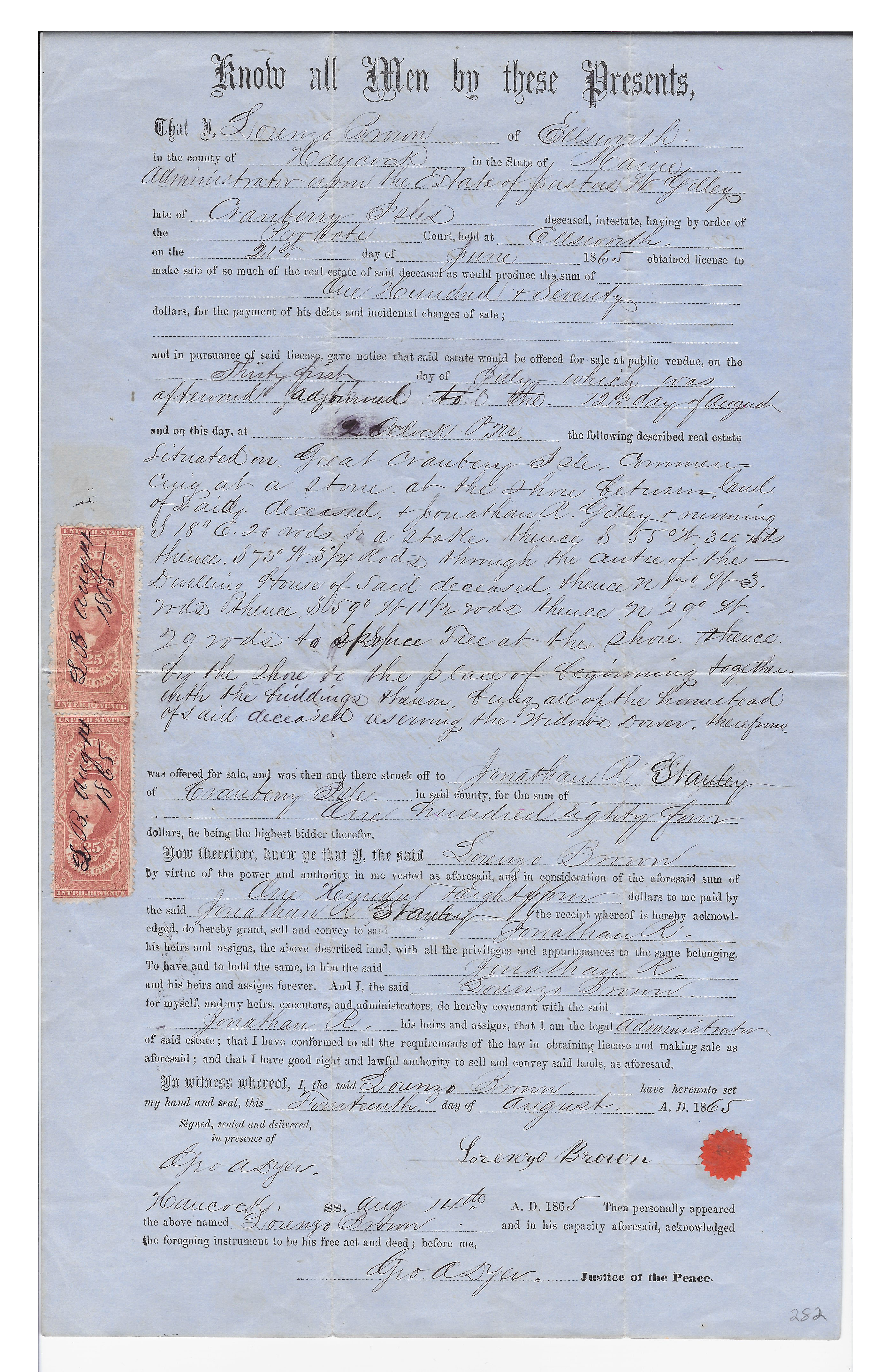 Probate order, with official stamps, sale of estate of Justus W. Gilley