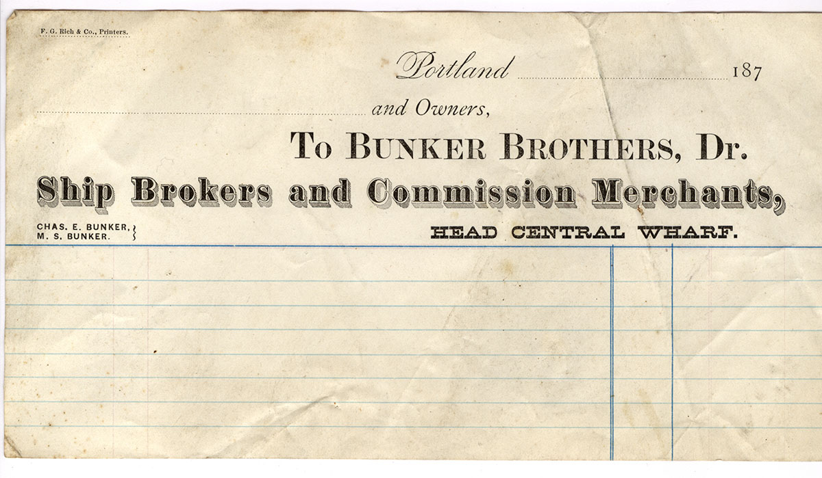 Bunker Brothers letterhead and Annie M. Bunker ledger