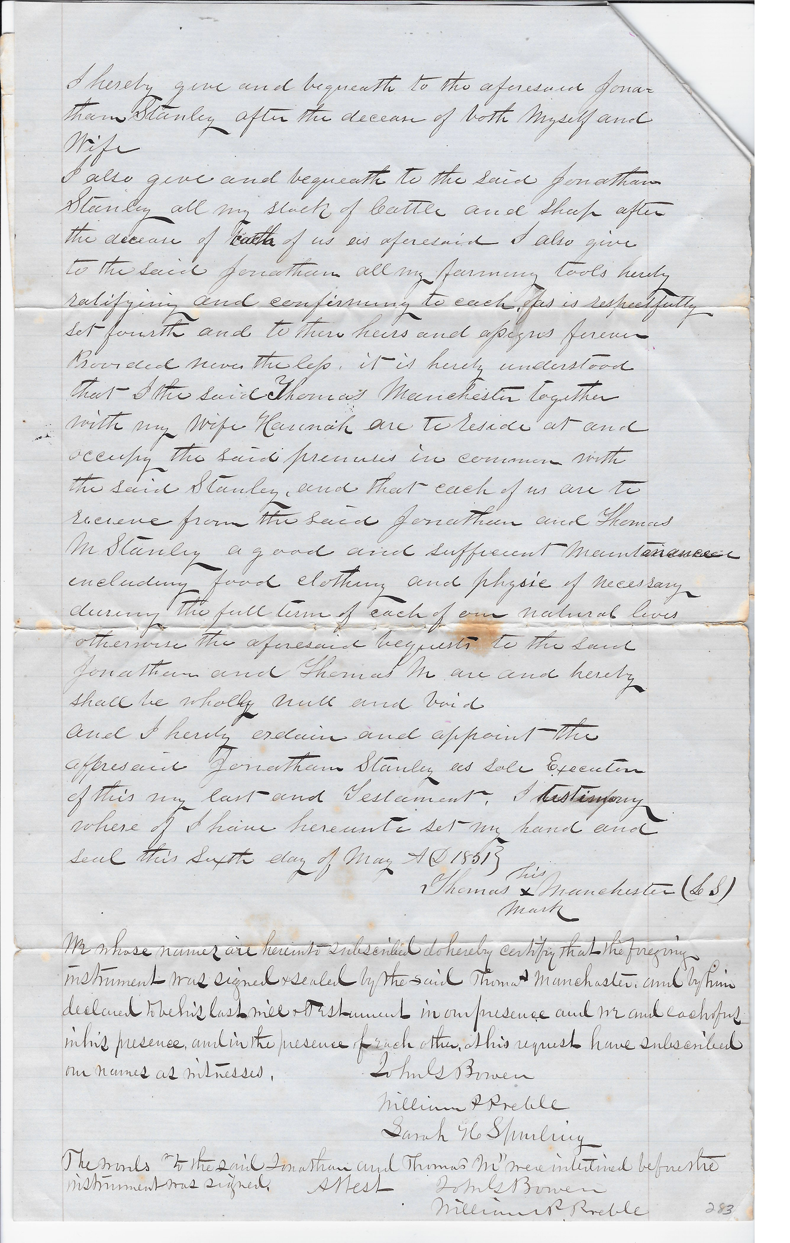 Last will and testament of Thomas Manchester