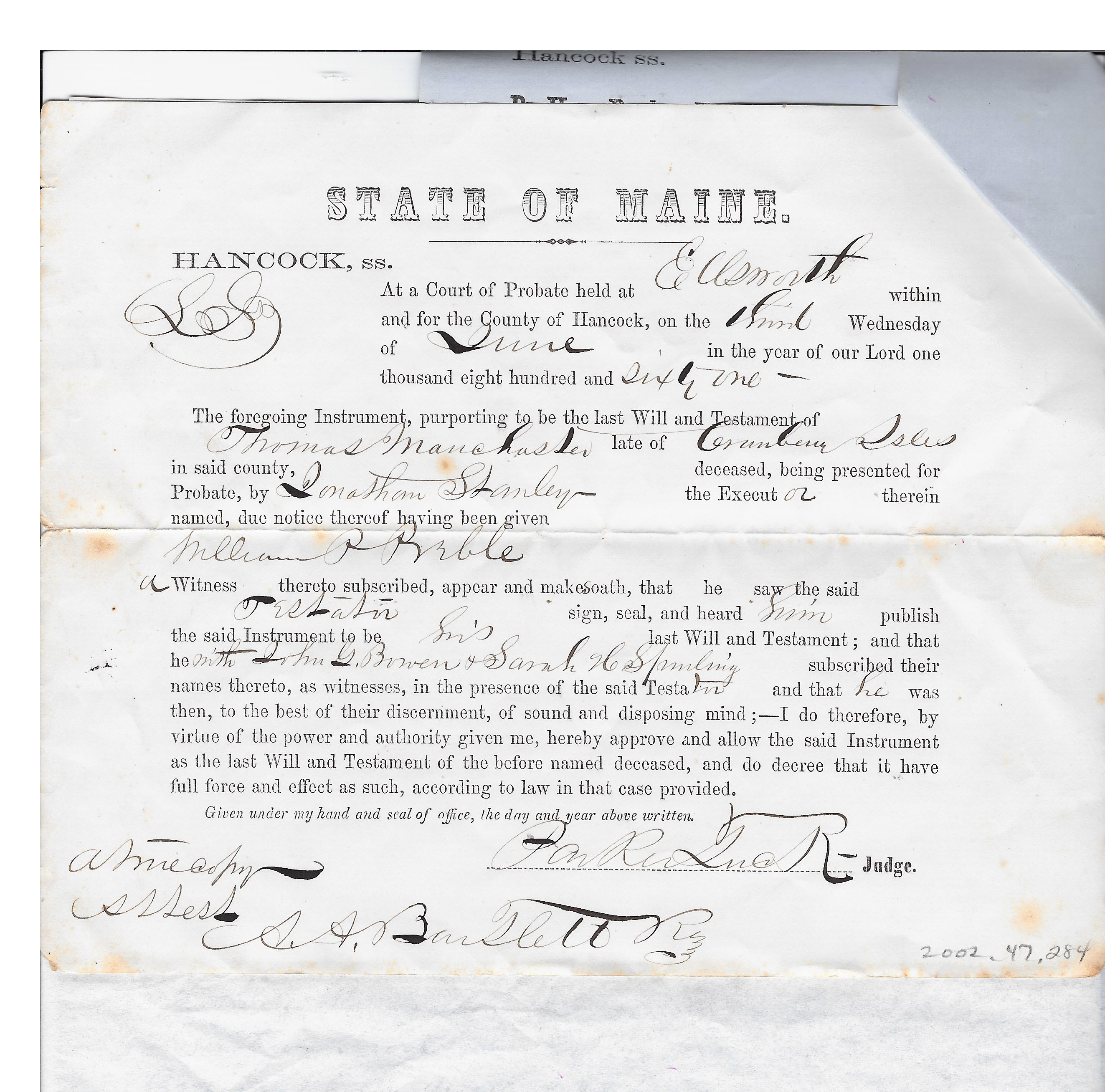 Will of Thomas Manchester