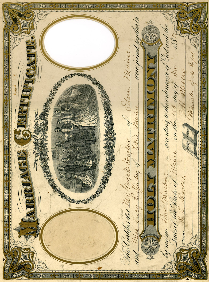 Wedding Certificate George W. Douglass to Lucy R. Spurling