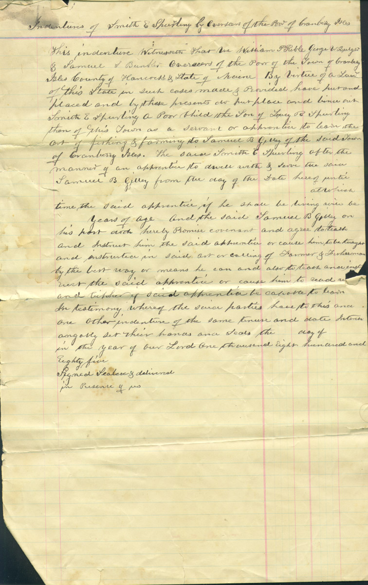 Indentures of Smith E. Spurling 1884