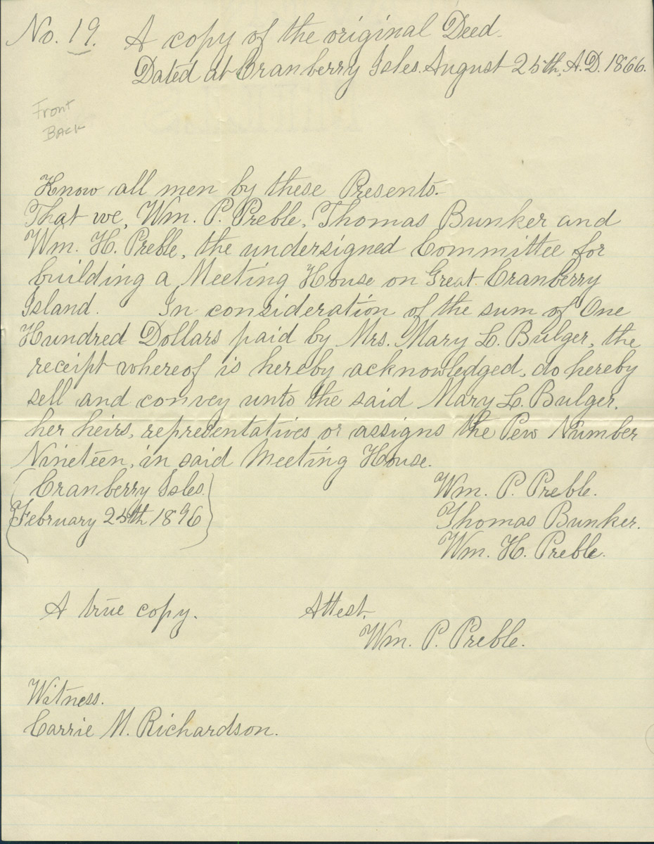 Deed for Pew 19 Union Meeting House to Mary L. Bulger