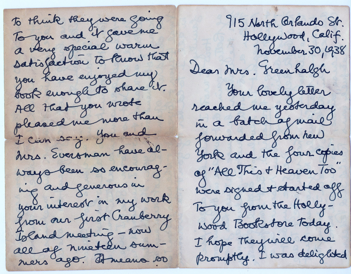 Letter from Rachel Field Pederson to Mrs. Greenhalgh 1938